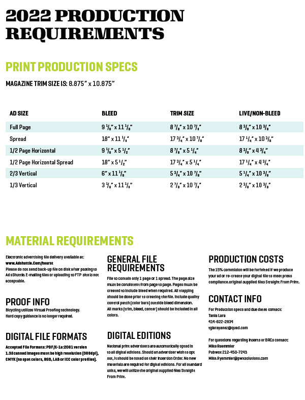 2020 General Ad Specifications - Bicycling Magazine Media Kit